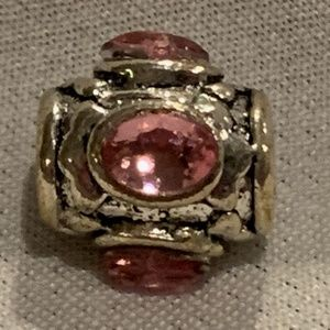NWOT Silver and Pink Gem Oval Charm